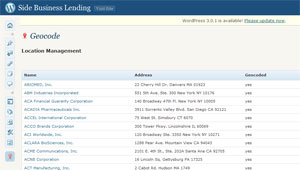 Side Business Lending Geocode Custom Dashboard Menu